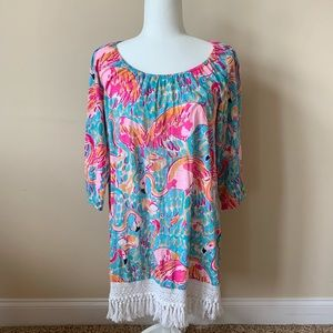 Lily Pulitzer flamingo fringe print dress #57